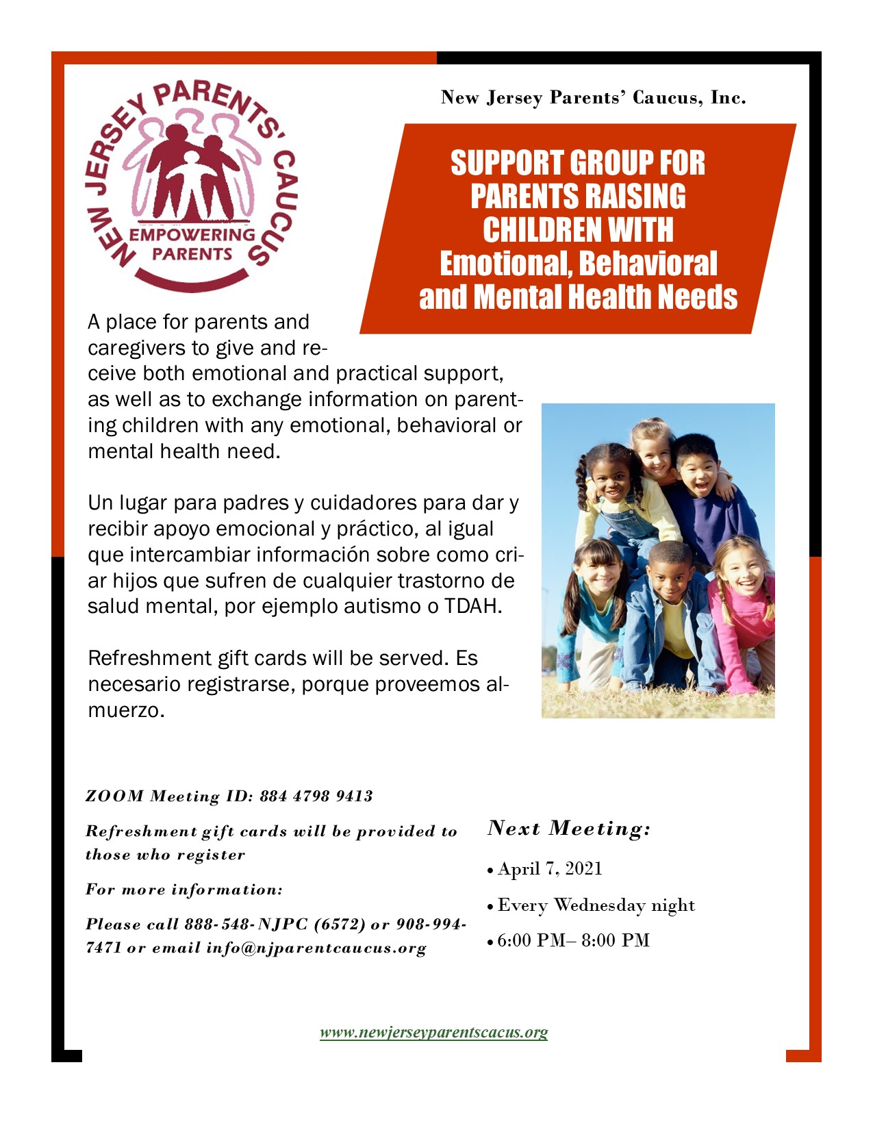 Members Raising Children with Emotional and Behavioral Challenges Support Group- Bilingual 2021 (002)