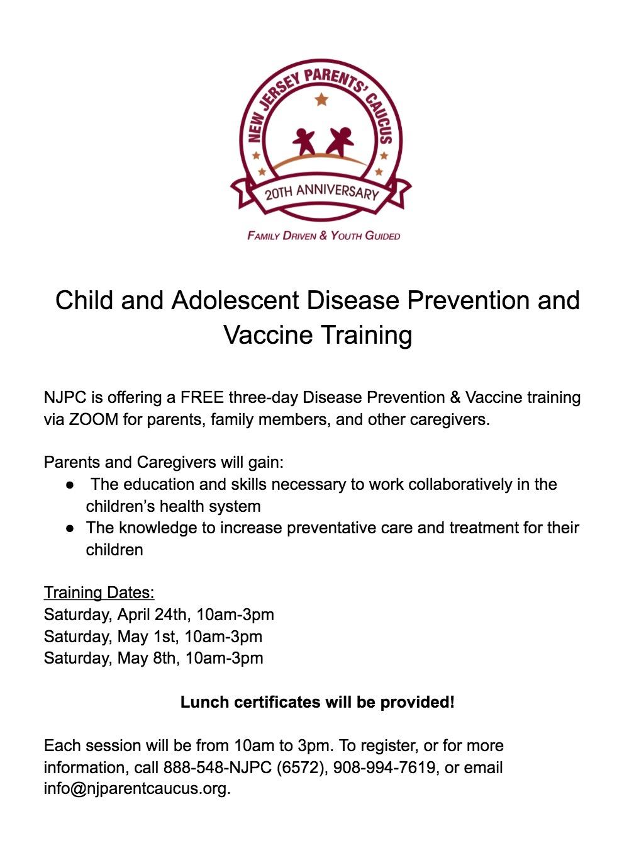 Disease Prevention Training Flyer